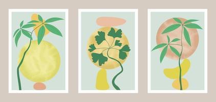 arte botânica abstrata natural com elementos em aquarela vetor