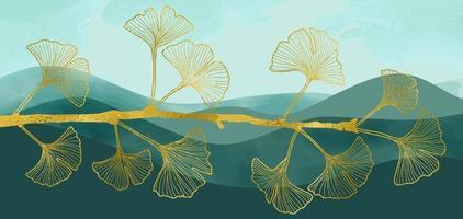 Banner de arte botânica abstrata natural com ramo de folha de ouro ginkgo vetor