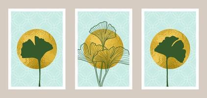 arte botânica abstrata natural com elemento de folha de ouro vetor