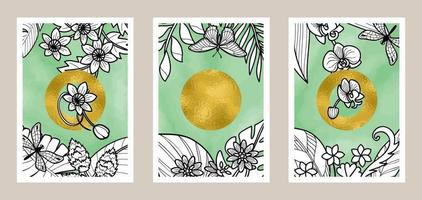 arte botânica abstrata com fundo aquarela e folha de ouro vetor