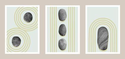 conjunto de arte abstrata natural do jardim de pedras japonesas vetor