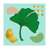 t-shirt botânico abstrato natural estampado com folha de ouro vetor