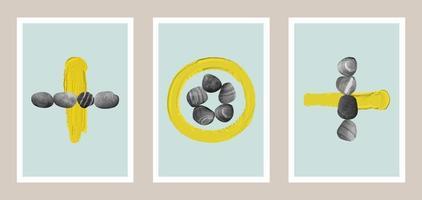 conjunto de arte com pedras e pinceladas amarelas vetor
