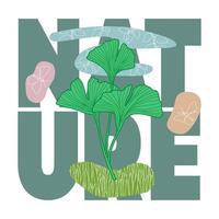 t-shirt botânico abstrato natural impresso com elementos de doodle vetor