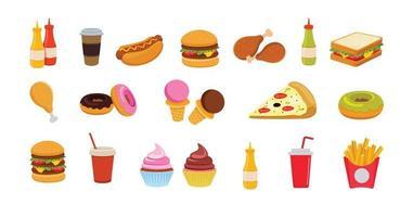 conjunto de vetores de ícones de fast food.