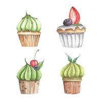 conjunto de diferentes cupcakes. ilustração em aquarela. vetor