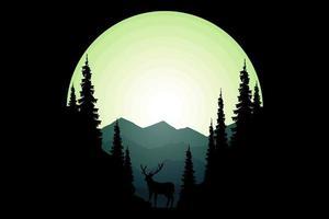 t-shirt natureza selvagem pinho montanha cervo vetor