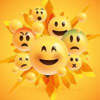 Emoticons amarelos com fundo abstrato, ilustração vetorial
