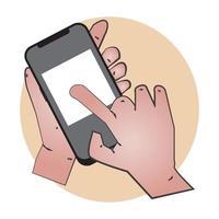mão tocando a tela do smartphone vetor
