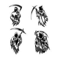 conjunto de ilustração do ceifador vetor