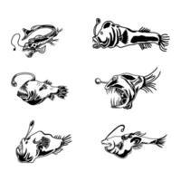 conjunto de peixes predadores vetor