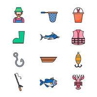 pacote de ícones de atividades de pesca de verão vetor