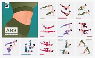 conjunto de treino de abs. mulheres fazendo exercícios de fitness e ioga. vetor