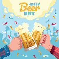 brinde na festa do dia da cerveja vetor