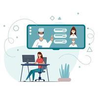 consulta médica pela internet com médico. vetor