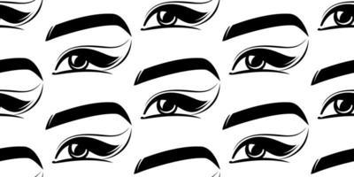 cílios, olhos, sobrancelhas, padrão sem emenda vetor
