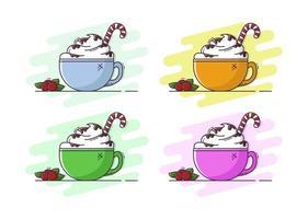 café com creme e chocolate em estilo simples. ilustração de natal. vetor