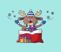 veado de Natal com presentes. ilustração para uso em cartão postal, adesivo. vetor