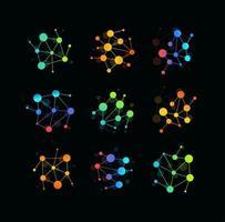logotipo da molécula, ícone do átomo colorido, design do vetor de ciência futurista