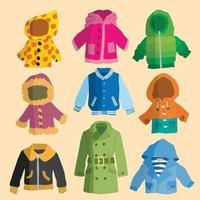 coleção de casacos e jaquetas vetor