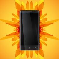 Fundo abstrato amarelo e um smartphone realista para o negócio, ilustração vetorial