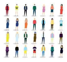 pequenas miniaturas de pessoas diferentes em um fundo branco - vetor