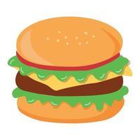 hambúrguer grande realista em fundo branco - vetor