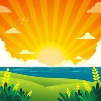 beleza verão fundo pôr do sol vetor