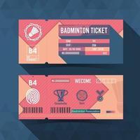 design de material de bilhetes de badminton. ilustração vetorial vetor