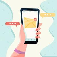 nova mensagem na tela do smartphone. conceito de notificação de e-mail. vetor