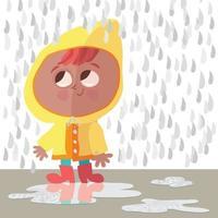 garota espirrando em poças em sua capa de chuva vetor