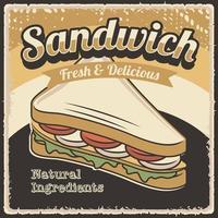 Decoração de parede de pôster sanduíche rústico retrô vetor