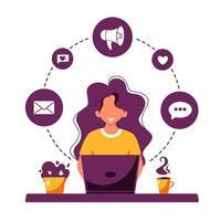 mulher trabalhando no laptop. processo de trabalho, freelance, comunicação vetor