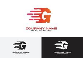 letra g velocidade conceito de logotipo rápido vetor