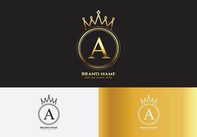 letra a conceito de logotipo de coroa de luxo ouro vetor
