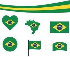 ilustração do vetor ícones do coração e fita do mapa da bandeira do brasil.