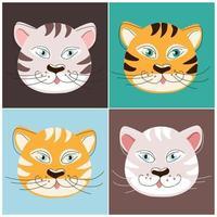 os focinhos de quatro tipos de tigres vetor