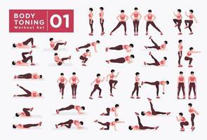 conjunto de treino de tonificação do corpo feminino. mulheres fazendo exercícios de fitness e ioga. vetor