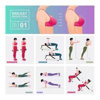 conjunto de exercícios de redução de mama. mulheres fazendo exercícios de fitness e ioga. vetor
