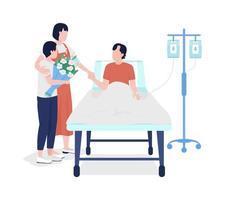 membros da família visitando o homem no hospital personagens vetoriais de cores planas vetor