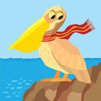 pelicano nas rochas com lenço olhando para o mar vetor