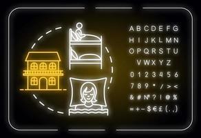 ícone do conceito de luz de néon do albergue vetor