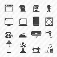 ícones domésticos eletrônicos vetor