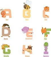 alfabeto animal ai vetor