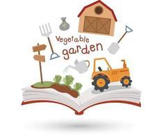 livro aberto e ícones da horta. conceito de educação vetor