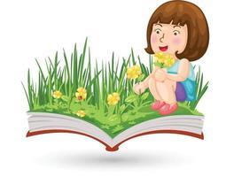 uma menina com o livro de flores vetor