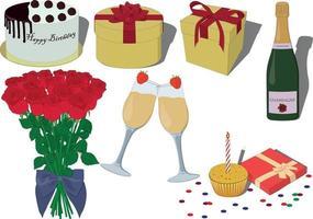 ilustração em vetor aniversário comemorando coleção de itens