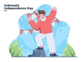 dirgahayu kemerdekaan dia da independência da Indonésia em 17 de agosto vetor