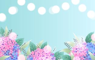 fundo de flor de hortênsia azul e rosa vetor