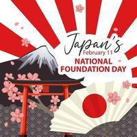 banner do dia da fundação nacional do Japão com monte fuji e portão torii vetor